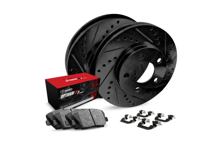 R1 Concepts Rear Brakes w/ Black Drilled and Slotted Rotors, 5000 OEP Brake Pads and Hardware - Subaru Models (inc. 2002-2003 WRX / 1999-2003 Impreza)