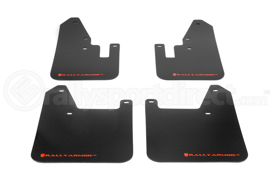 Rally Armor UR Mudflaps Black Urethane Red Logo ( Part Number:RAL MF13-UR-BLK/RD)
