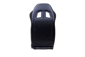NRG Innovations Reclinable Sports Seats Black Leather w/ White Stitching (Pair) - Universal