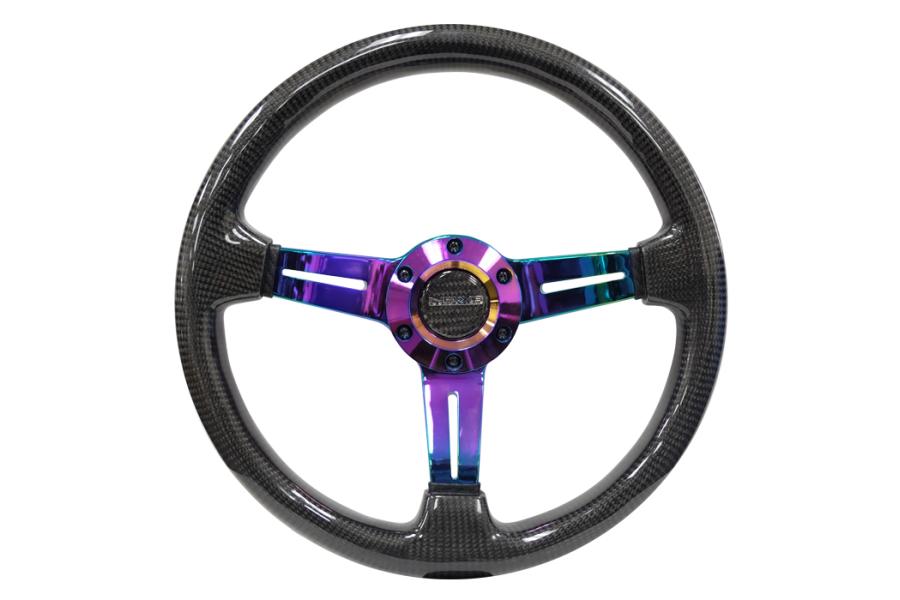 NRG Carbon Fiber Steering Wheel 350mm 1.5in Deep Neochrome - Universal