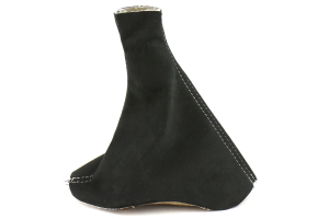 AutoStyled Black Microsuede E-Brake Boot w/White Stitching (Part Number: )