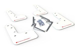 Rally Armor UR Mudflaps White Urethane Red Logo (Part Number: )