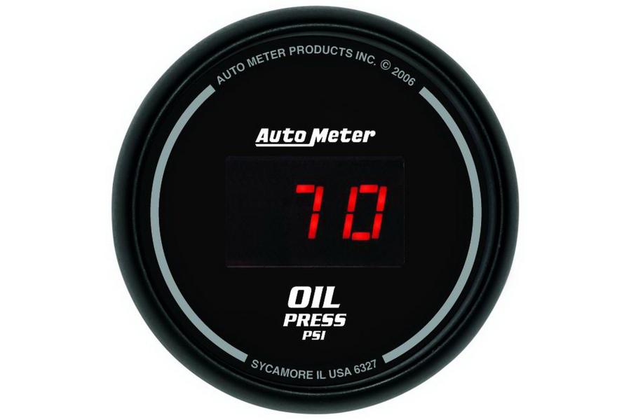 Autometer Sport-Comp Digital Oil Pressure Gauge Red LED 52mm - Universal