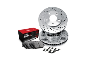R1 Concepts Front Brakes w/ Silver Drilled and Slotted Rotors, 5000 OEP Brake Pads and Hardware - Subaru Models (inc. 1998-2001 Impreza / 1997-2002 Legacy)