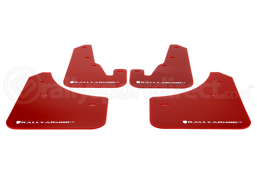 Rally Armor UR Mudflaps Red Urethane White Logo (Part Number:MF9-UR-RD/WH)