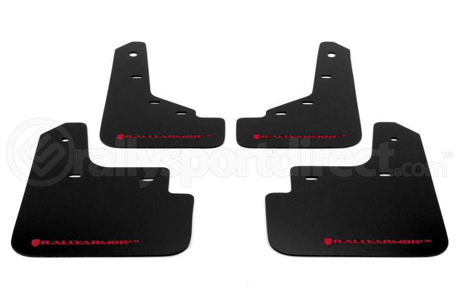 Rally Armor UR Mudflaps Black Urethane Red Logo (Part Number:MF31-UR-BLK/RD)