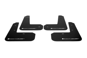 Rally Armor UR Mudflaps Black Urethane White Logo ( Part Number:RAL MF23-UR-BLK/WH)
