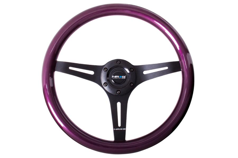 NRG Classic Wood Grain Wheel 350mm Black / Purple Pearl - Universal