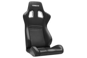 Corbeau Sportline Evolution X Black Vinyl / Carbon Black Stitching Seat - Universal