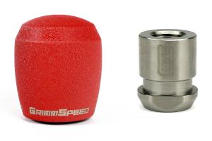 GrimmSpeed Stubby ShiftKnob Stainless Steel Red w/ 5SPD Boot Retainer - Subaru 5MT Models (inc. 2002-2014 WRX)