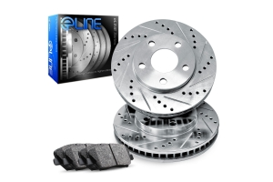 R1 Concepts E- Line Series Front Brakes w/ Silver Drilled and Slotted Rotors and Ceramic Pads - Subaru Impreza 1993-1995
