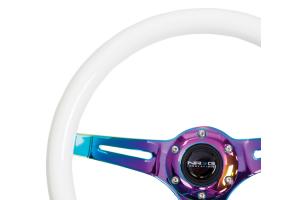 NRG Classic Wood Grain Wheel 350mm Neochrome / Glow-In-The-Dark - Universal