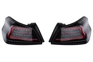 Spec-D Sequential LED Tail Lights Glossy Black Housing w/ Clear Lens and Red LED Bar - Subaru WRX / STI 2015 - 2020