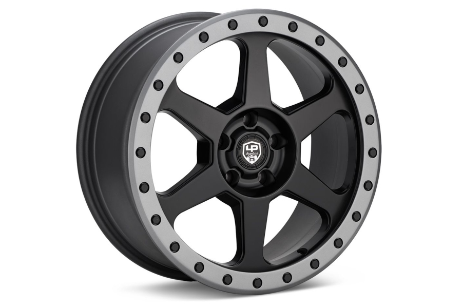 LP Aventure LP3 Wheel 17X8 +38 5x114.3 Black w/ Grey Ring - Universal