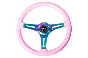 NRG Classic Wood Grain Wheel 350mm Neochrome / Pink - Universal