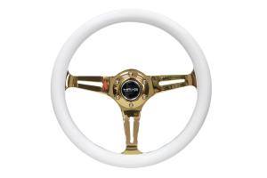 NRG Classic Wood Grain Wheel 350mm Chrome Gold / White - Universal