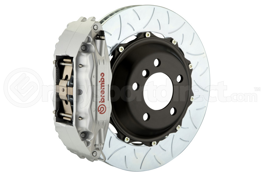 Brembo GT Systems 4 Piston Front Big Brake Kit Silver Type 3 Slotted Rotors - Mitsubishi Evo 8/9 2003-2006