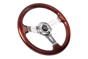 NRG Classic Wood Grain Wheel 330mm Slotted Chrome - Universal