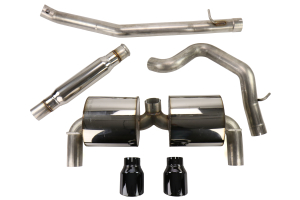 AWE Touring Edition Cat Back Exhaust Resonated Diamond Black Tips - Ford Focus RS 2016+