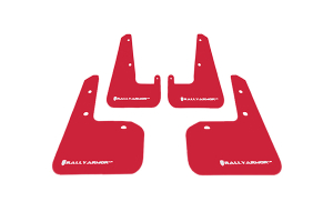 Rally Armor UR Mudflaps Red Urethane White Logo ( Part Number:RAL MF19-UR-RD/WH)