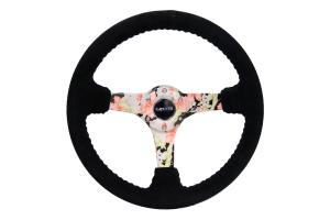 NRG Reinforced Steering Wheel 350mm Suede 3in Deep Floral - Universal
