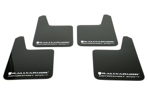 Rally Armor MSpec Universal Mudflap Black Urethane White Logo (Part Number: )