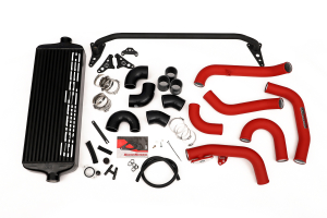 GrimmSpeed Front Mount Intercooler Kit Black Core w/ Red Piping - Subaru WRX 2015 - 2020