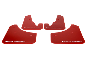 Rally Armor UR Mudflaps Red Urethane White Logo ( Part Number: MF9-UR-RD/WH)