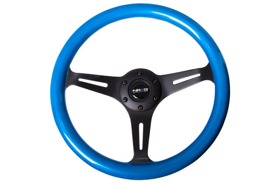 NRG Classic Wood Grain Wheel 350mm Black / Blue Pearl - Universal