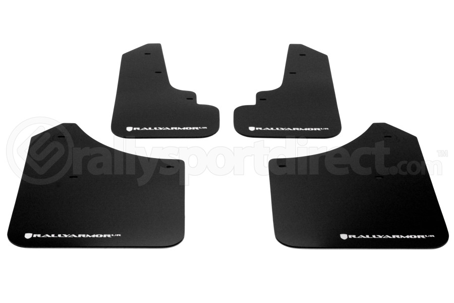 Rally Armor UR Mudflaps Black Urethane White Logo (Part Number:MF5-UR-BLK/WH)