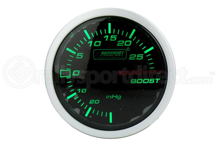 ProSport Boost Gauge Electrical w/ Sensor 52mm Green/White (Part Number:216BFWGEBOSM.PSI)