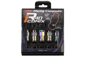 KICS R40 Iconix Neo Chrome Locking Lug Nuts W/ Black Caps M12X1.25 (Part Number: )