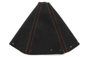 JPM Coachworks Shift Boot Black Alcantara Red Stitching ( Part Number:JPM 20012A40-R)