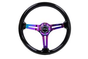 NRG Reinforced Classic Wood Grain Wheel 350mm Black / Neochrome - Universal