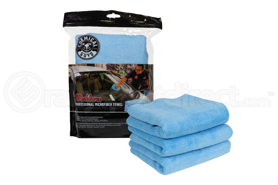 Chemical Guys Workhorse Professional Grade Microfiber Towels Blue (3 Pack) - Universal
