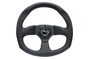 NRG Reinforced Steering Wheel Flat Bottom Black w/ Red Stitch - Universal