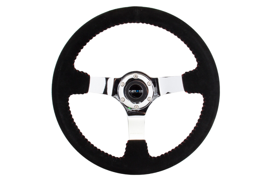 NRG Reinforced Steering Wheel 350mm Suede 3in Deep Chrome w/ Red Stitch - Universal
