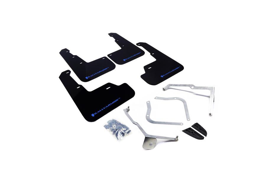 Rally Armor UR Mudflaps Black Urethane Light Blue Logo - Subaru WRX / STI 2015+