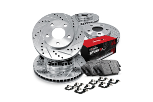 R1 Concepts Brake Package w/ Silver Drilled and Slotted Rotors, 5000 OEP Brake Pads and Hardware - Subaru Forester 2003