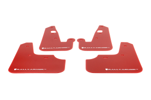 Rally Armor UR Mudflaps Red Urethane White Logo ( Part Number:RAL MF8-UR-RD/WHI)