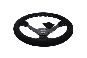 NRG Reinforced Steering Wheel 350mm Suede 3in Deep Black w/ Silver Stitch - Universal