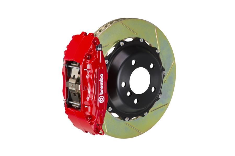 Brembo GT System 4 Piston Front Brake Kit Red Slotted Rotors - Volkswagen Models (inc. 2015+ GTI)