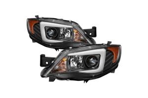 Spyder Projector Headlights w/ Light Bar DRL Black - Subaru WRX / STI 2008-2014