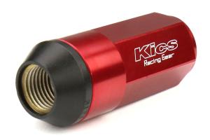 KICS Leggdura Racing Shell Type Lug Nut Set 53mm Closed-End Look 12X1.25 Red - Universal