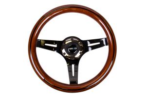 NRG Classic Wood Grain Wheel 310mm Black Chrome / Brown w/ Black Inlay - Universal