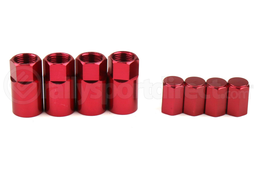 Wheelmate Valve Caps w/ TPMS Valve Step Sleeves Red - Universal