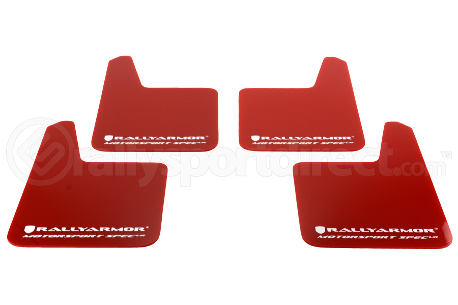 Rally Armor Universal MSpec Mudflap Red Urethane White Logo (Part Number:MF20-MSUR-RD/WH)