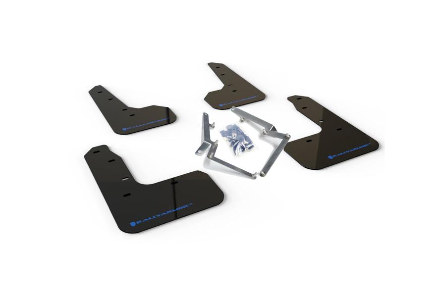 Rally Armor UR Mudflaps Black Urethane Blue Logo (Part Number:MF51-UR-BLK/BL)