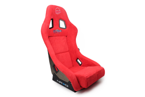 NRG Innovations FRP Bucket Seat ULTRA Edition w/ pearlized back Red Alcantara  - Universal