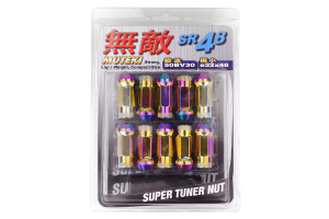 Muteki SR48 Neo Chrome Open Ended Lug Nuts 12X1.50 ( Part Number:KIC 32906N)